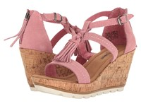 Minnetonka Lincoln Desert Rose Suede Women's Wedge Shoes Pink