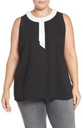 Vince Camuto Plus Size Women's Contrast Collar Sleeveless Blouse Rich Black