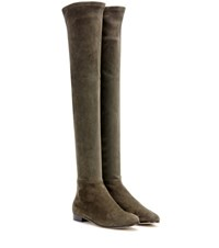 Jimmy Choo Myren Flat Suede Over The Knee Boots Green