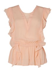 Salsa Short Sleeve V Neck Top With Ruffle Detail Pastel Pink