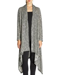 Bobeau Textured Waterfall Duster Cardigan Gray Pattern
