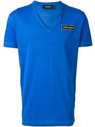 Dsquared2 Chest Logo V Neck T Shirt Blue