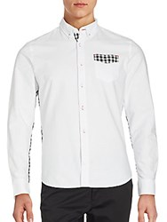 Saks Fifth Avenue Red Cotton Oxford Shirt White Black