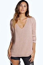 Boohoo Oversized V Neck Jumper Nude