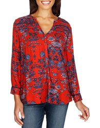Lucky Brand Floral Printed High Low Hem Shirt Red