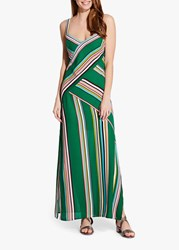 Adrianna Papell Stripe Slip Maxi Dress Green Multi
