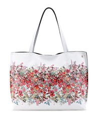 Elliott Lucca Floral Printed Reversible Faux Leather Tote White