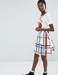 Love Moschino Belt Print Skirt White