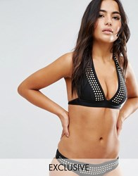 Wolf And Whistle Studded Bikini Top Black