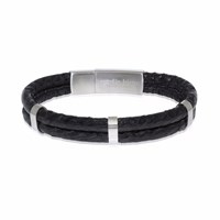Marlin Birna Atlantic Salmon Leather Bracelet Double Cord Black And Stainless Steel Black Silver