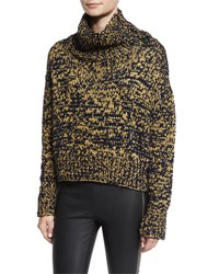 Rag And Bone Sandra Cropped Melange Turtleneck Sweater Navy Gold Navy Gold