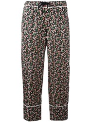 Moncler Floral Print Cropped Trousers Black
