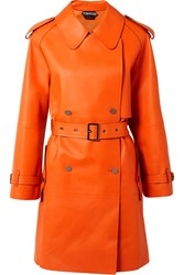 Tom Ford Double Breasted Leather Trench Coat Orange Gbp
