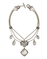 Konstantino Aura 3 Strand Statement Crystal Pendant Necklace White