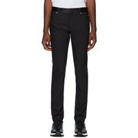 Balmain Black Satin Band Trousers