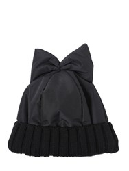 Federica Moretti Padded Nylon Beanie Hat With Bow