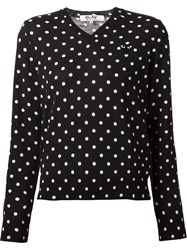 Comme Des Garcons Play Polka Dot Small Logo Heart Sweater Black