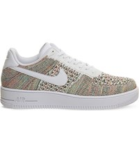 Nike Air Force 1 Flyknit Low Top Trainers Yellow Crimson White
