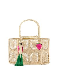 Mercedes Salazar Threaded Straw Tote Bag Cream