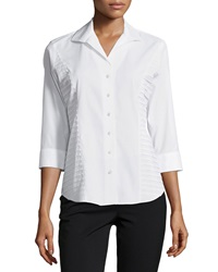 Paperwhite Pleated 3 4 Sleeve Blouse