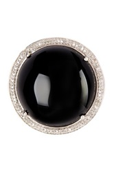 Savvy Cie Pave White Diamond Onyx Ring Black