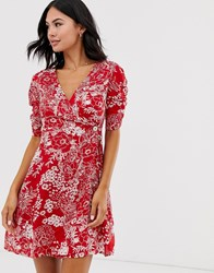 Brave Soul Lola Printed Wrap Dress With Side Button Fastening Red