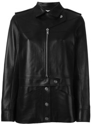 Courra Ges Button And Zip Up Mid Length Biker Jacket Black