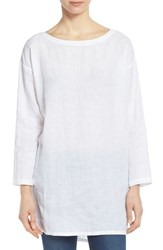 Women's Eileen Fisher Organic Linen Ballet Neck Tunic White