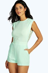 Boohoo Lace Back Woven Playsuit Mint