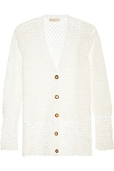 Michael Michael Kors Crochet Knit Cotton Cardigan White