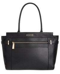 Tommy Hilfiger Savanna Pebble Leather Tote Black