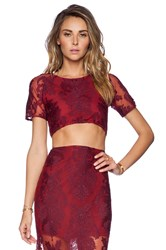 For Love And Lemons Ethereal Crop Top Burgundy