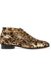 Dieppa Restrepo Lupe Metallic Leopard Print Suede Brogues