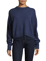 Tibi Drop Shoulder Tweed Cropped Sweater Blue