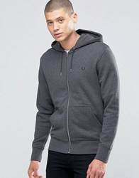 Fred Perry Hoodie With Zip Through In Graphite Marl Graph Ml Grey