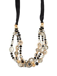 Saks Fifth Avenue Handmade Goldplated Multi Strand Necklace Gold Black