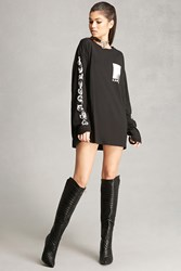 Forever 21 Faux Leather Knee High Boots Black