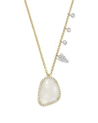 Meira T 14K White And Yellow Gold Large Rainbow Moonstone And Diamond Pendant Necklace 16 White Gold