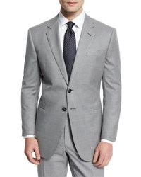 Giorgio Armani Taylor Mod Houndstooth Wool Sport Coat Light Gray No Color