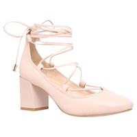 Carvela Aid Lace Up Block Heeled Court Shoes Pale Pink Leather
