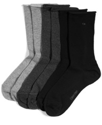 Calvin Klein Women's Casual Roll Top 3 Pack Socks Black Grey