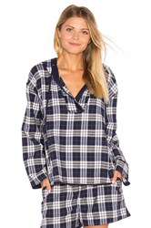 Skin Plaid Pullover Navy