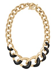 Michael Kors Luxe Two Tone Curb Chain Necklace Black
