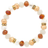 Monet Bead And Crystal Rondel Stretch Bracelet Amber White