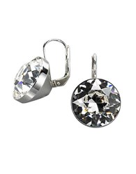 Swarovski Bezel Set Crystal Drop Earrings Crystal Silver
