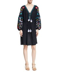 Figue Victoria Embroidered Peasant Dress Navy