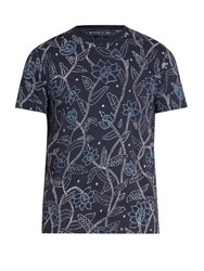Etro Floral Print Cotton T Shirt Navy