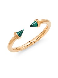Vita Fede Luciano Cono Malachite Spike Bangle Bracelet Rose Goldtone