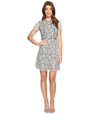 Jessica Simpson Two Tone Floral Lace Fit And Flare Ivory Black Women's Dress Multi