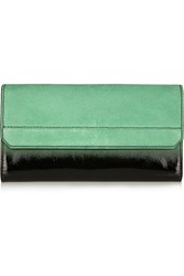 Alexander Wang Chastity Ombre Effect Suede And Patent Leather Wallet Green